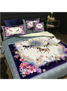 Floral Horses and Butterflies Luxury Style Reversible Fuzzy Super Warm Bed Blanket