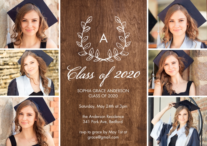 2020 Graduation Invitations 5x7 Cards, Premium Cardstock 120lb with Scalloped Corners, Card & Stationery -Grad 2020 Initial by Tumbalina