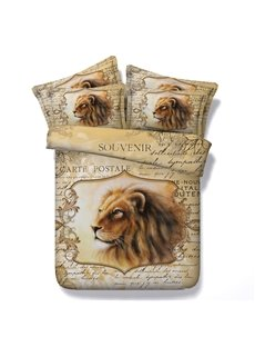 3D Lion and Letters Printed Retro Style 5-Piece Comforter Sets