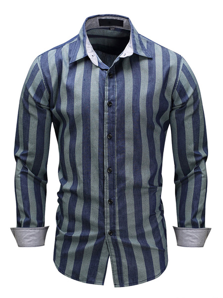 Milanoo Men\'s Regular Fit 100% Cotton Stripe Shirt