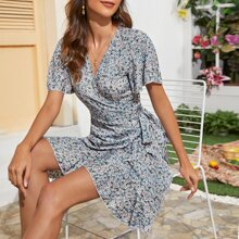 Ditsy Floral Ruffle Hem Tie Side Wrap Dress