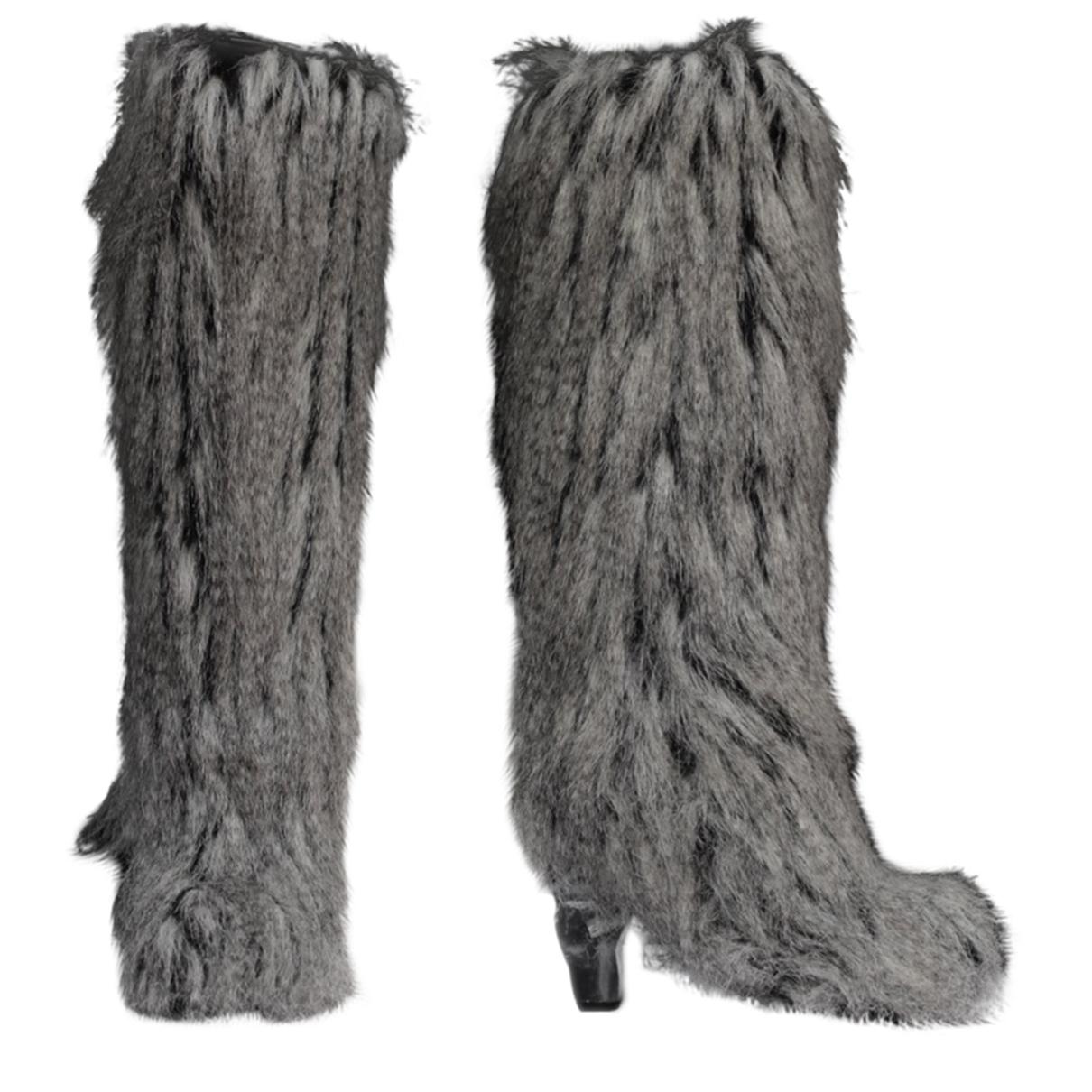 Chanel - Bottes   pour femme en fourrure synthetique - gris