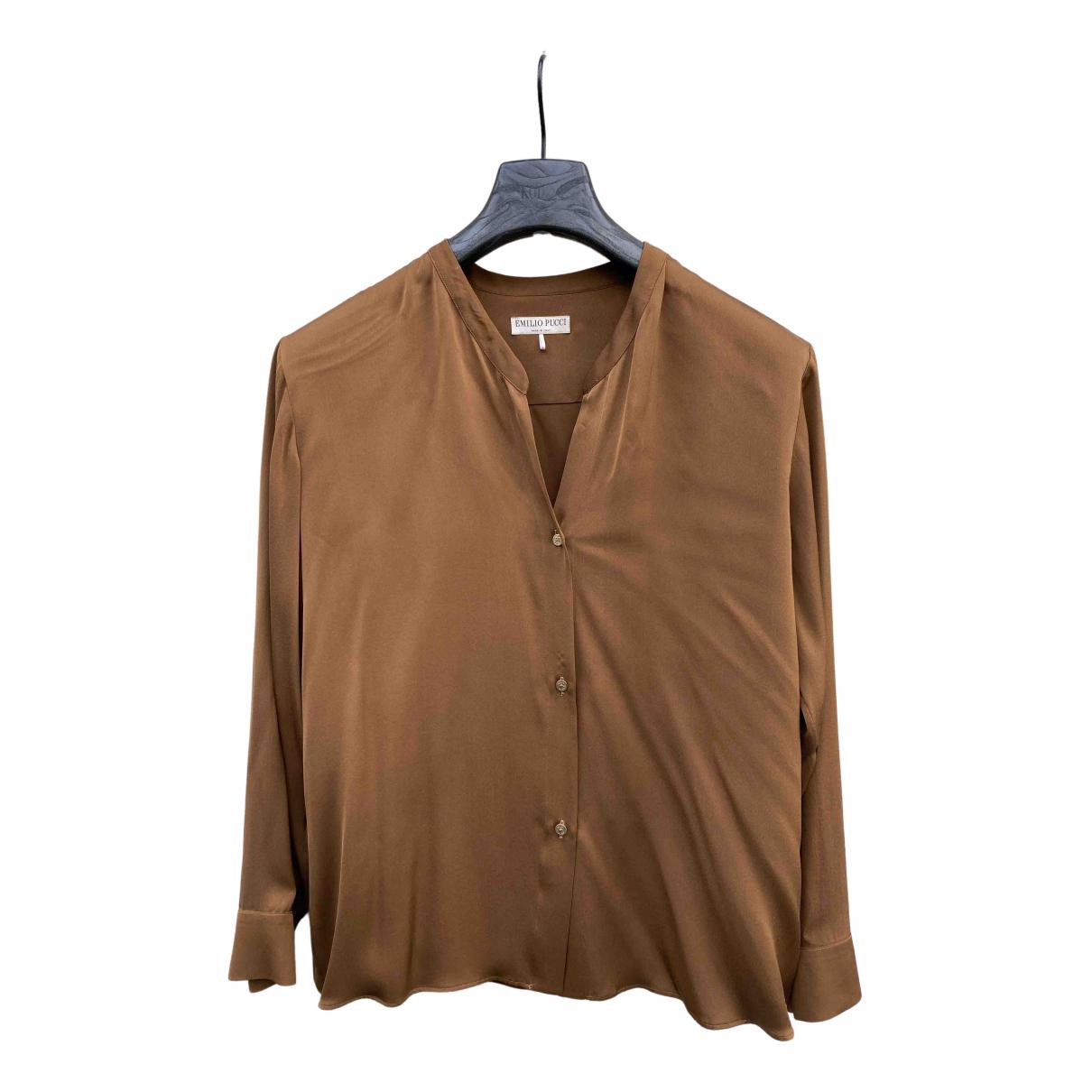 Emilio Pucci N Camel Silk  top for Women 46 IT