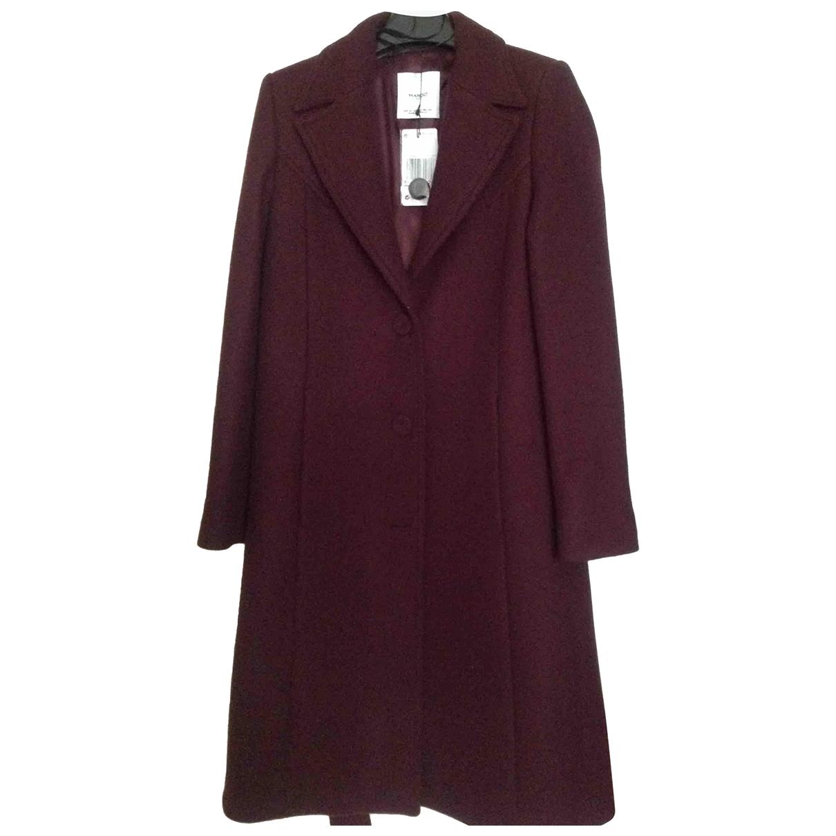 Mango - Manteau   pour femme en laine - bordeaux