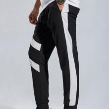 Men Contrast Panel Drawstring Sports Pants