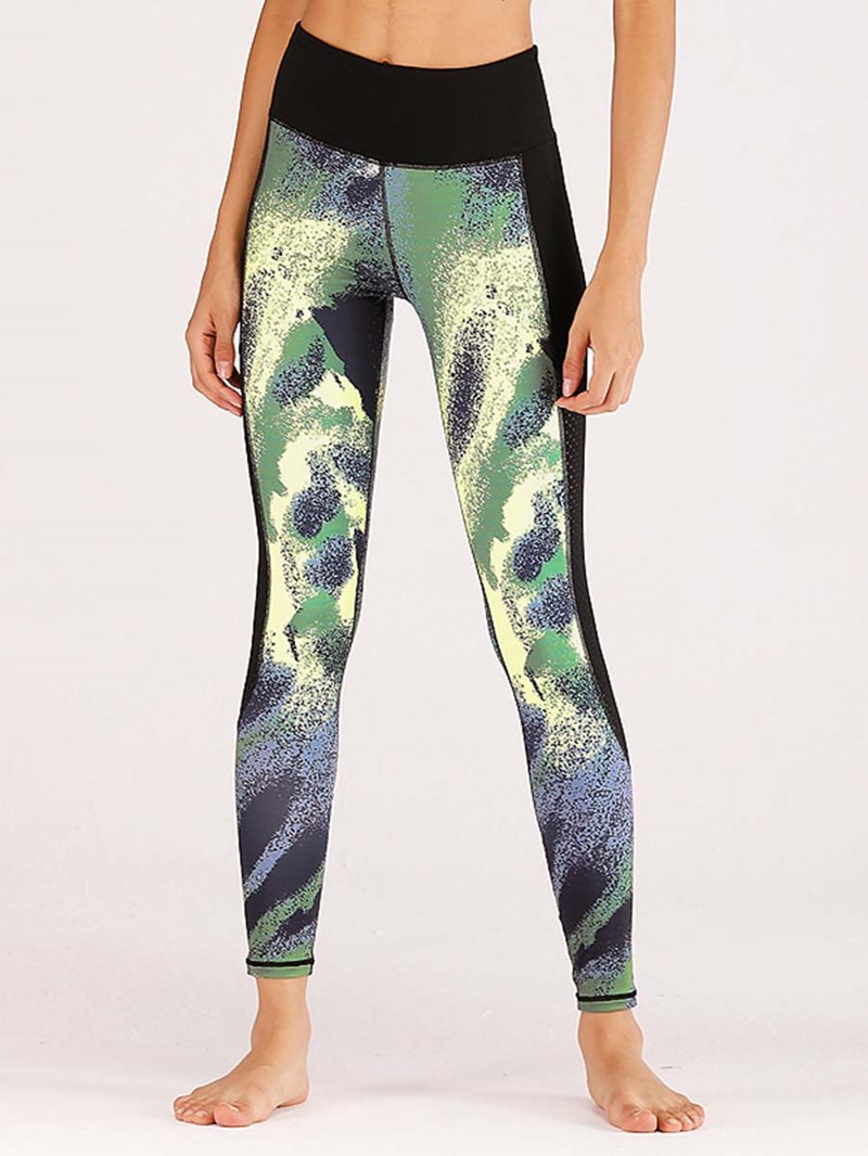 Ericdress Patchwork Reflective Strip Print Sports Leggings for Women