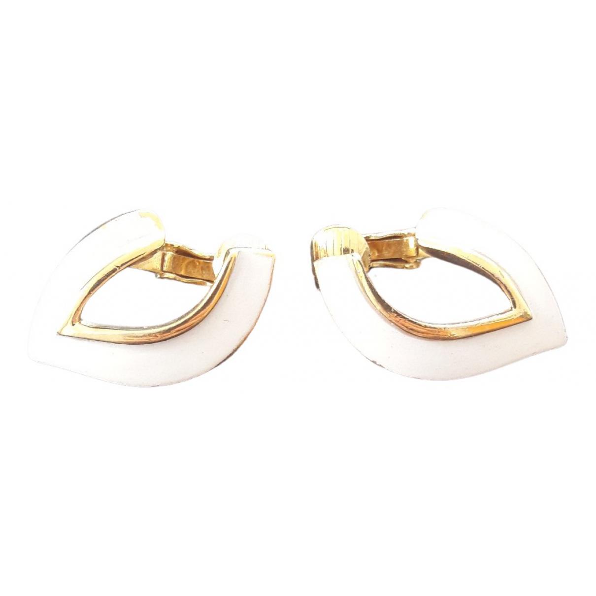 Trifari - Boucles doreilles   pour femme en plaque or - blanc