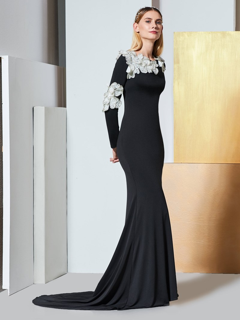 Ericdress Long Sleeve Applique Black Mermaid Evening Dress