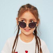 Gafas de sol para niños de lentes redondas con diseño metalico