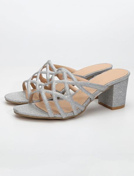 Milanoo Sandalias Plateadas Sandalia De Tacon Grueso Con Puntera Abierta De Purpurina Zapatillas Para Mujer