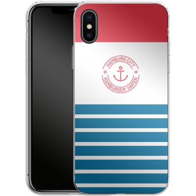Apple iPhone X Silikon Handyhuelle - Hamburger Hafen von caseable Designs