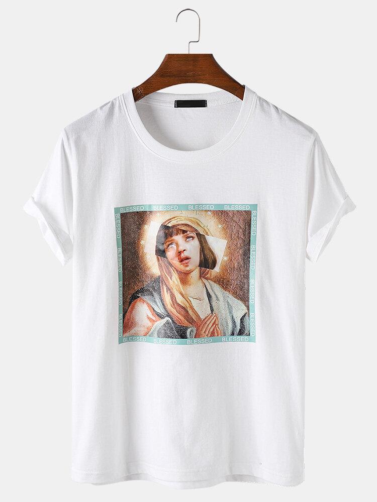 Mens Funny Figure Pattern Box Print Breathable Light Plain O-Neck T-Shirts