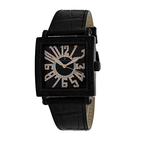 Christian Van Sant Womens Black Leather Strap Watch-Cv0244, One Size , No Color Family
