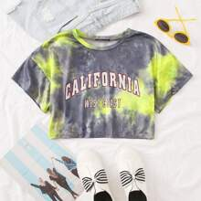Crop T-Shirt mit Buchstaben Grafik und Batik