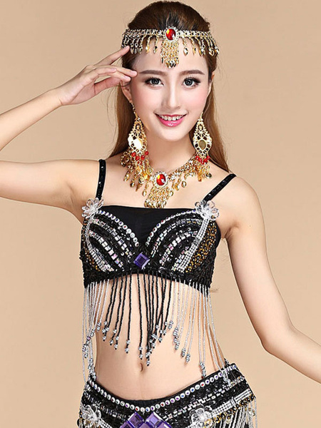 Milanoo Belly Dance Top Belly Dancer Sequin Fringe Beading Women Dancing Wear