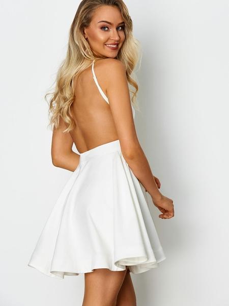 Yoins White Back Zip Cut Out Round Neck Sleeveless Mini Dress