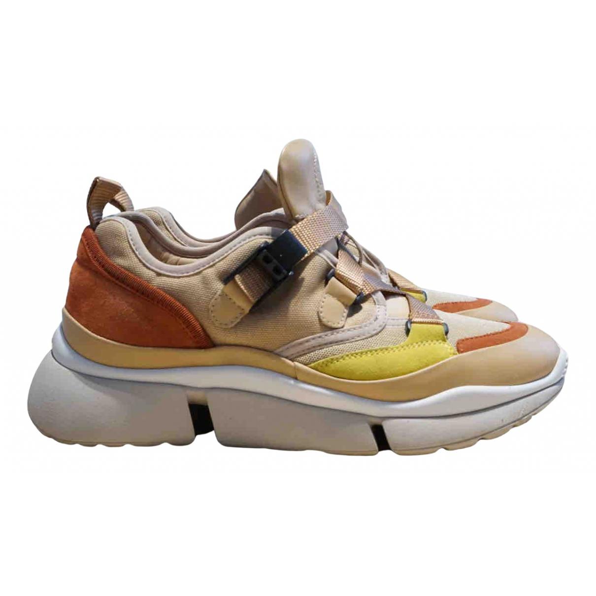 Chloe Sonnie Sneakers in  Beige Leder