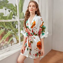 Large Floral Print Self Tie Satin Robe