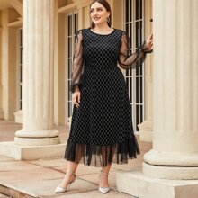 Plus Mesh Bishop Sleeve Argyle Print Dress