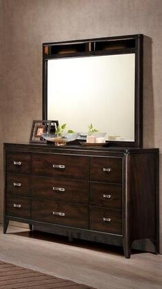 Eclipse Collection EC970-DR Dresser with 9-Drawers and Silver Brushed Hardware in Espresso
