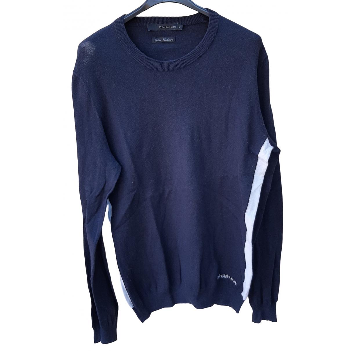 Calvin Klein \N Pullover.Westen.Sweatshirts  in  Marine Baumwolle