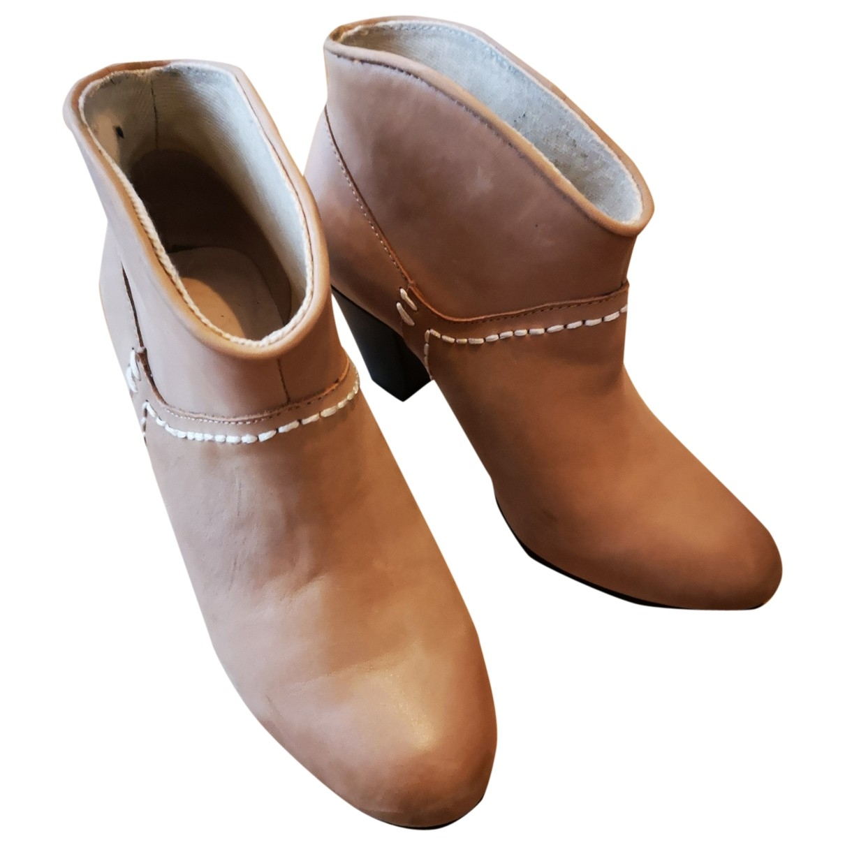Maje \N Beige Leather Ankle boots for Women 37 EU