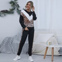Pullover & Jogginghose Set mit Farbblock und Leopard Muster