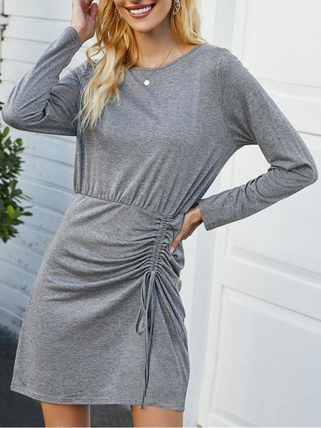 Milanoo Vestidos ajustados grises Vestido corto con cordon de manga larga con cuello joya