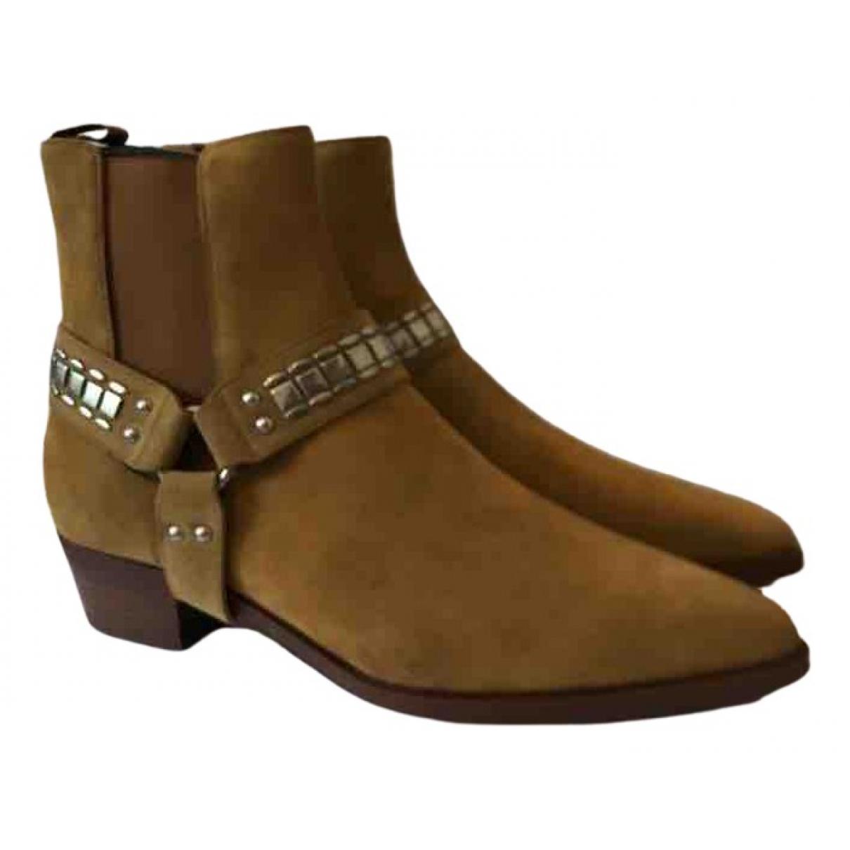 Celine Carmargue boots Stiefel in  Beige Veloursleder