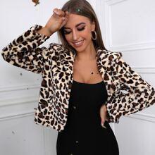 Leopard Pattern Lapel Neck Teddy Jacket