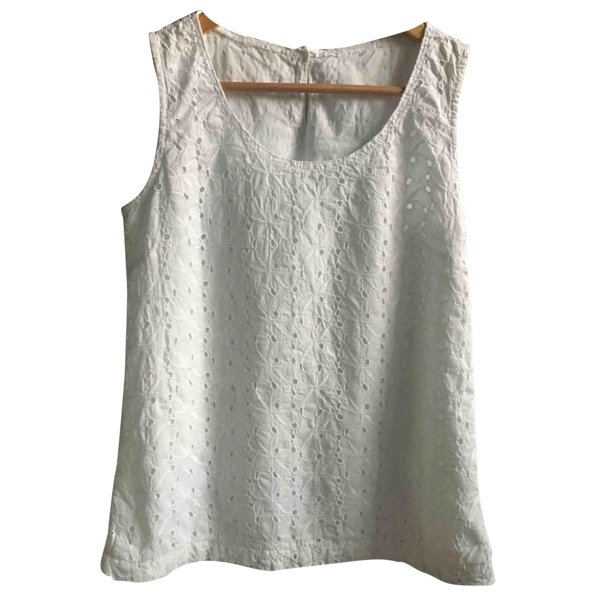 Non Signé / Unsigned \N White Cotton  top for Women 40 IT