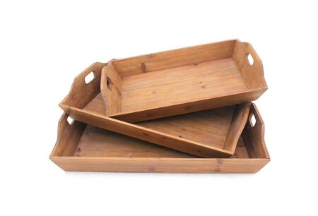 BM217292 Rectangular Wooden Serving Tray with Cut Out Handles  Set of 3