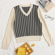 Pullover mit V Kragen und Grafik Muster