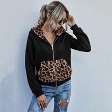 Hoodie mit Kontrast Leopard Muster und Reissverschluss