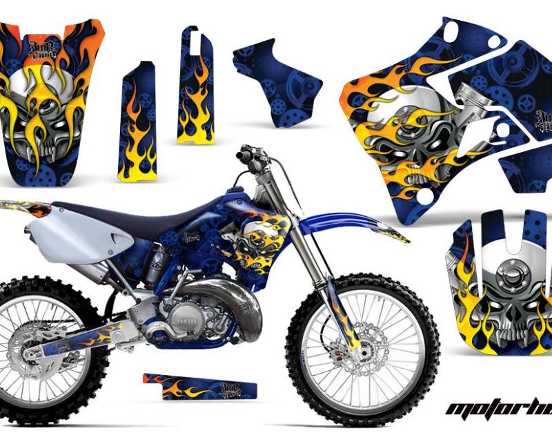 AMR Racing Dirt Bike Graphics Kit Decal Sticker Wrap For Yamaha YZ125 YZ250 1996-2001áMOTORHEAD BLUE