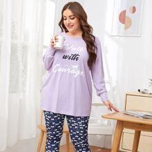 Plus Slogan Graphic Tee and Cat Print Leggings PJ Set