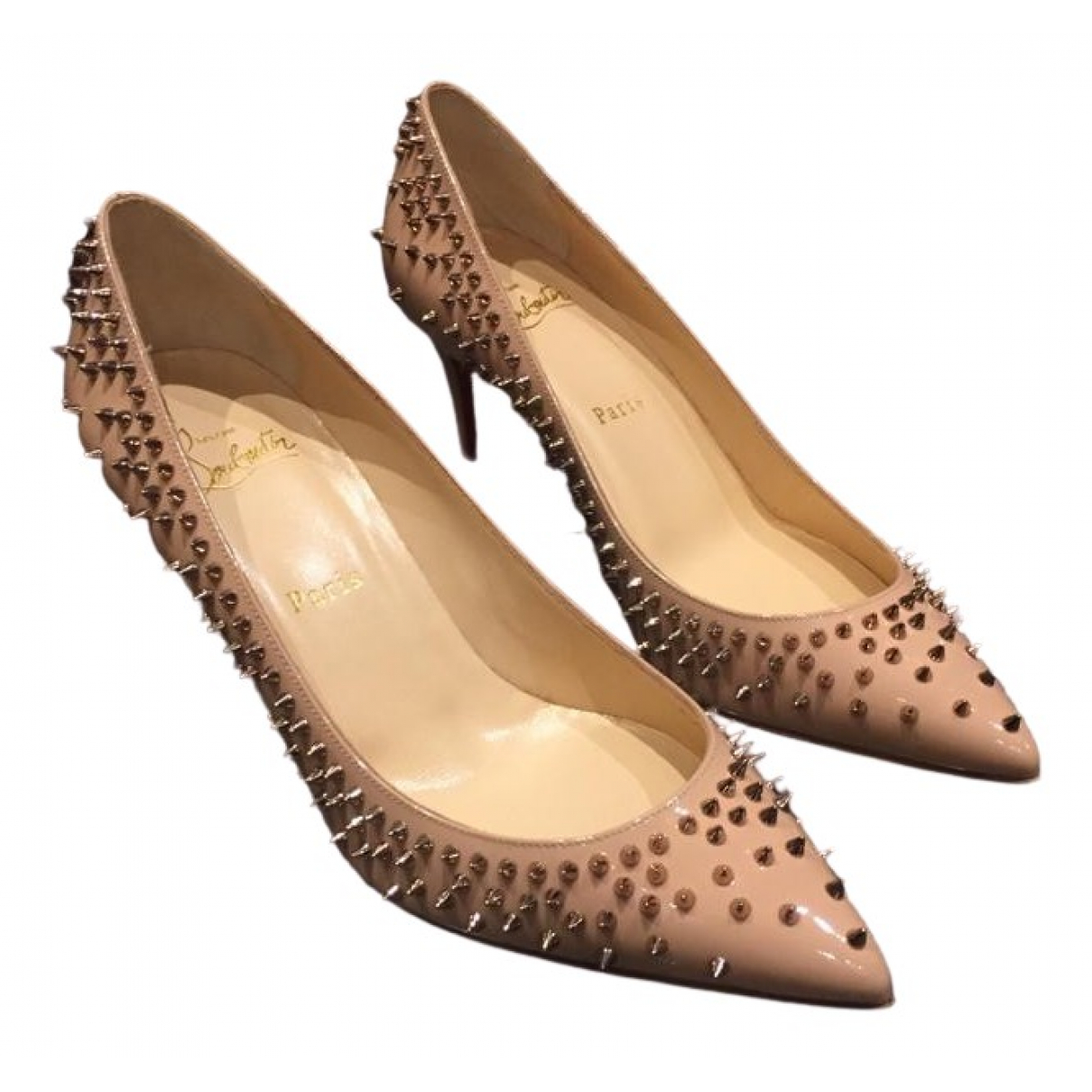 Christian Louboutin Pigalle Beige Patent leather Heels for Women 38.5 EU