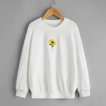 Girls Drop Shoulder Floral Embroidery Pullover