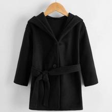 Mantel mit einreihigen Knopfen, Kapuze und Guertel