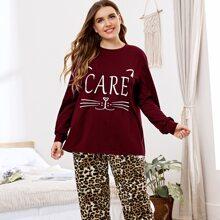 Plus Letter and Cartoon Graphic Top & Leopard Pants PJ Set
