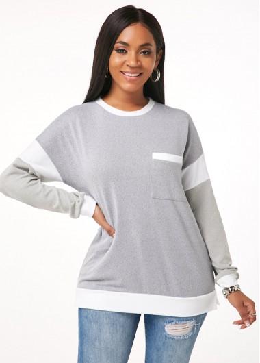 Round Neck Long Sleeve Contrast Sweatshirt - M