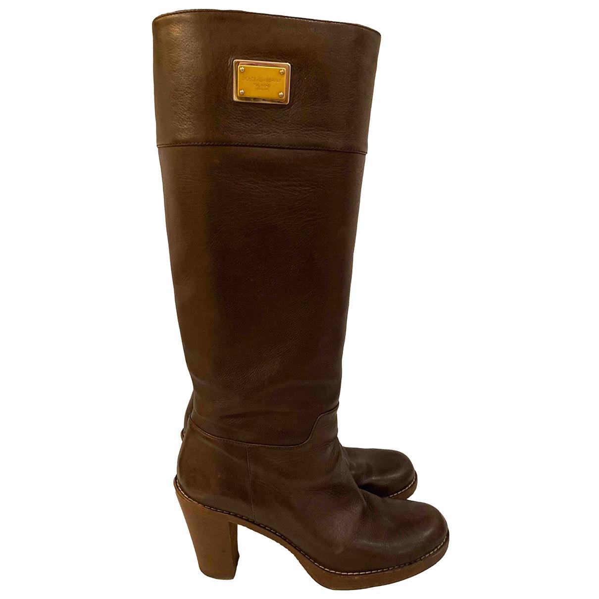 Dolce & Gabbana - Bottes   pour femme en cuir - marron
