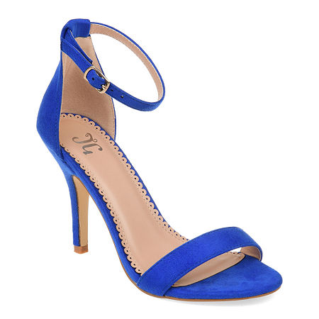 Journee Collection Womens Polly Pumps Buckle Open Toe Stiletto Heel, 10 Medium, Blue