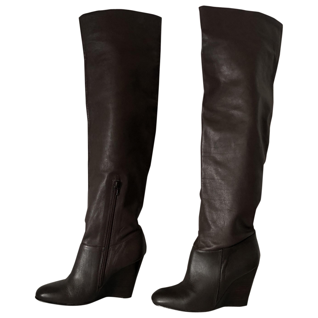 Non Signé / Unsigned \N Brown Leather Boots for Women 37 EU