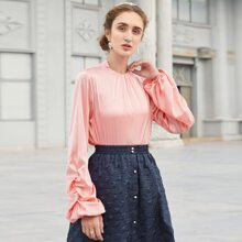 Solid Ruched Bishop Sleeve Blouse