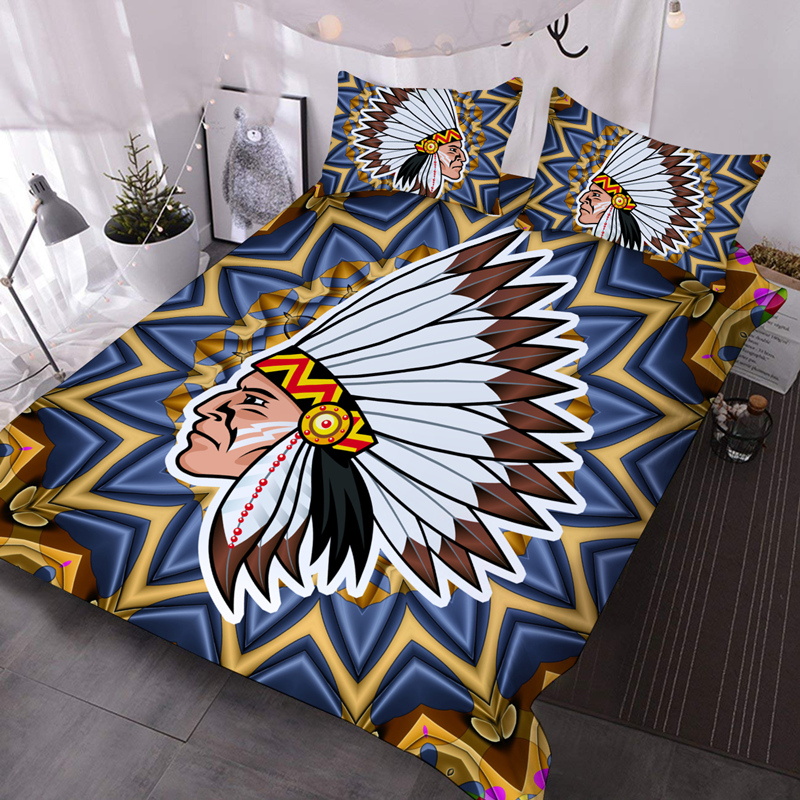 Indian Chief Microfiber No-Fading Comforter Set 3Pcs 3D Soft Lightweight Comforter with 2 Pillowcases