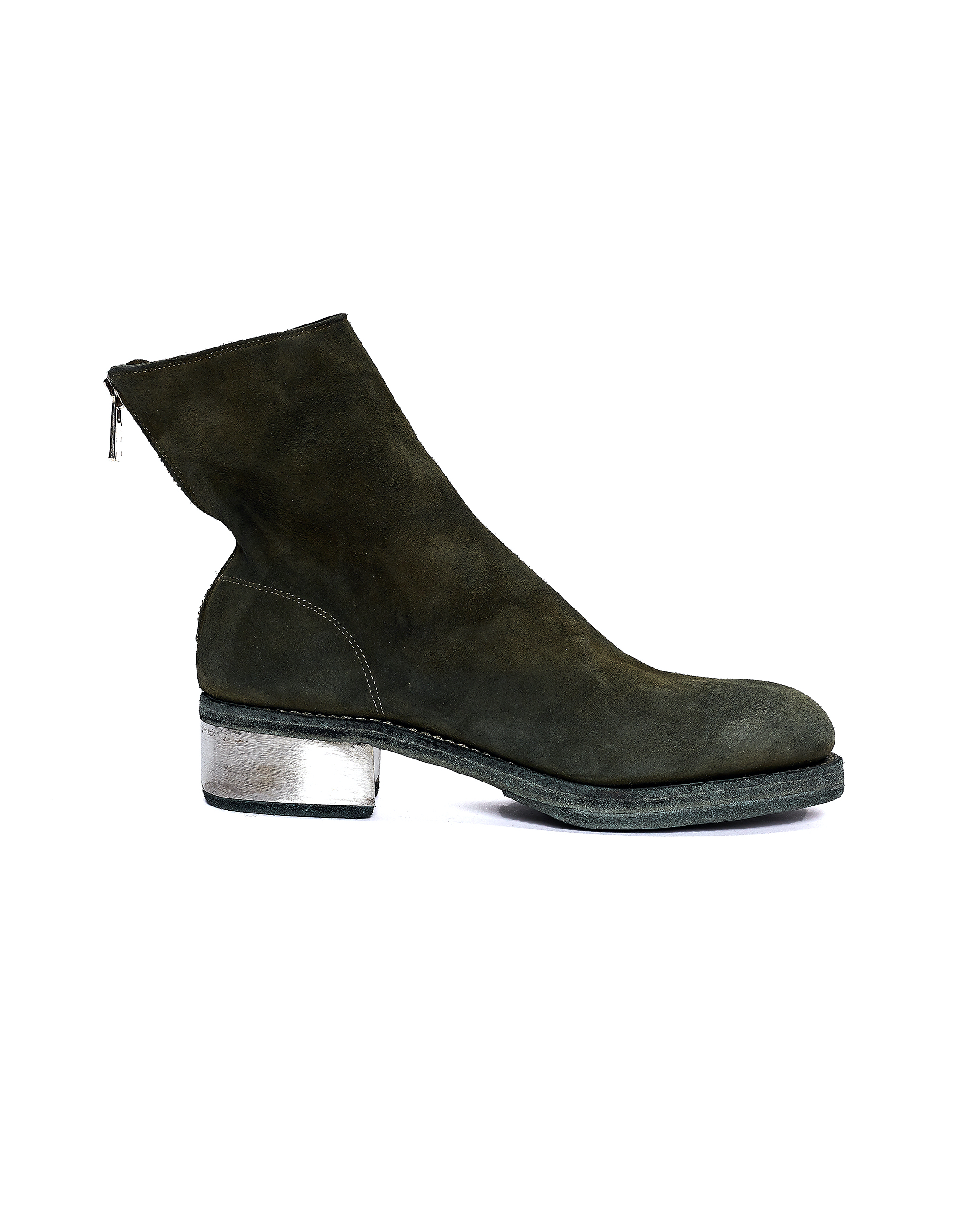 Guidi Green Suede Metallic Heel Boots