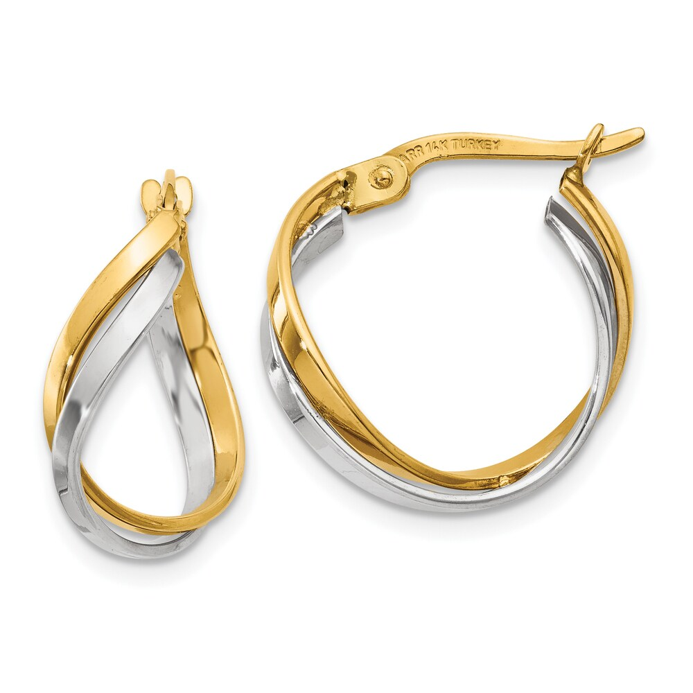 14K Yellow and White Gold Polished Twisted Hoop Earrings by Versil (Two-Tone)