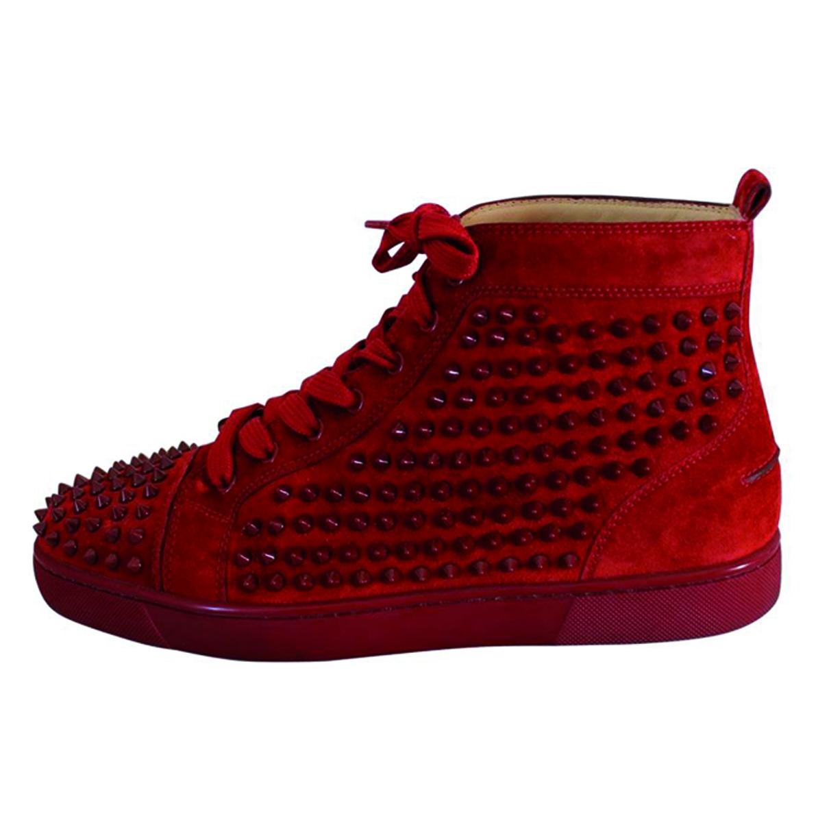 Christian Louboutin Louis Sneakers in  Rot Veloursleder