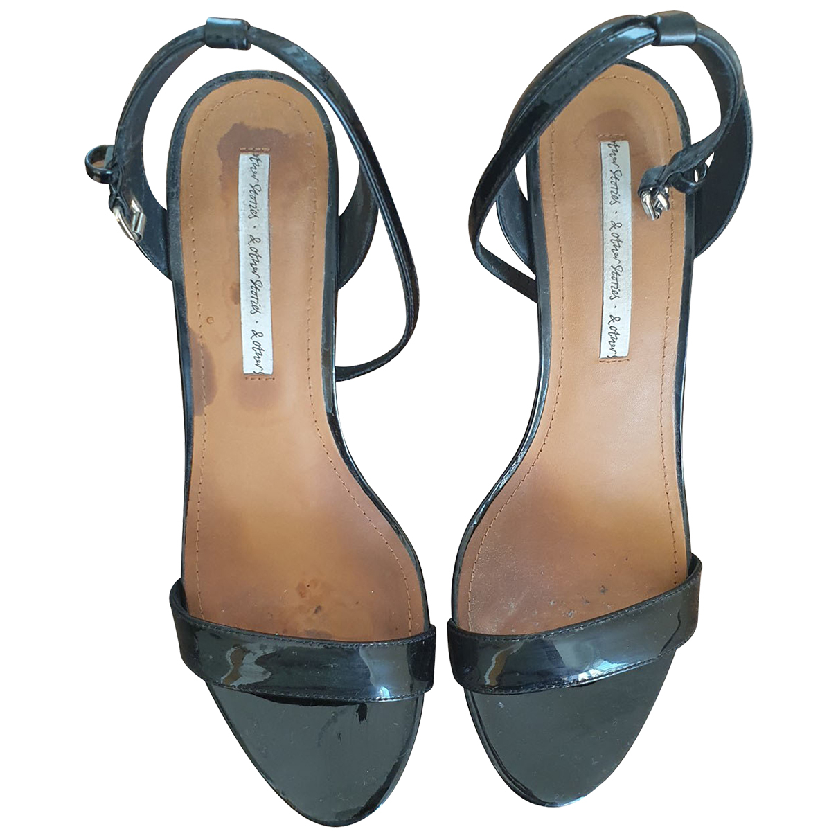 & Stories N Black Leather Sandals for Women 39 EU